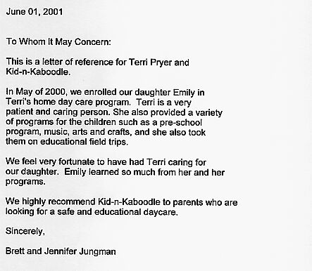 Reference Letter For Daycare Provider from kidnkaboodle.net