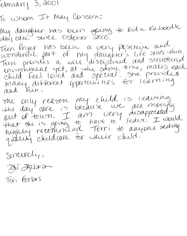 Child Care Letter Of Recommendation from kidnkaboodle.net