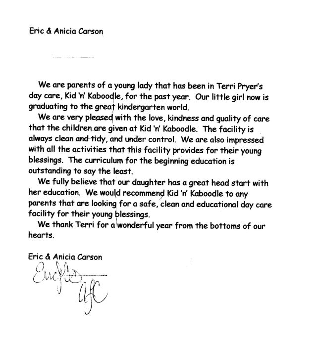 Sample Recommendation Letter For Daycare Worker - Cover Letter ...