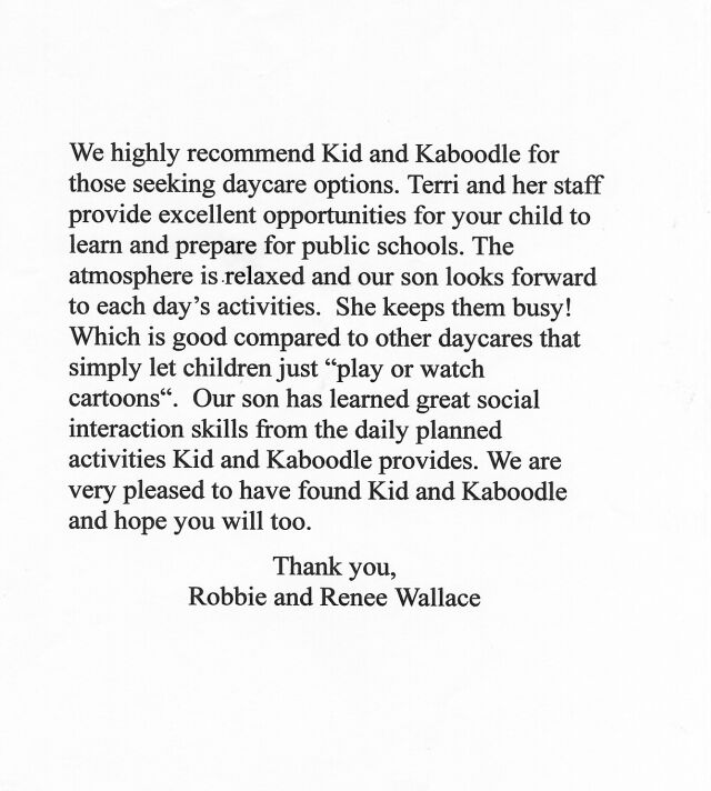 reference letter child care